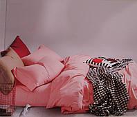 Комплект постельного белья из бамбука однотонный розовый двухспальный.