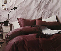 Комплект постельного белья из бамбука однотонный фиолетовый двухспальный.