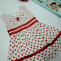 Платье сарафан детское летнее белое в красный горох
