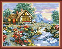 """Картина по номерам (раскраска) на холсте """"Домик у реки с лебедями"""",  MG197, 40х50см., фото 1"""