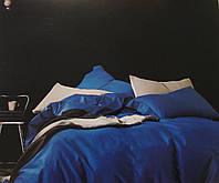 Комплект постельного белья из бамбука однотонный синий двухспальный.