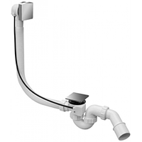 Сифон для ванны автомат(обвязка автомат)  McAlpine  HC31M-SQ-CBS1-1M с квадратным переливом и сливом