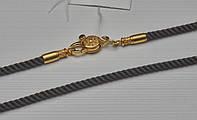 Шнурок Шелковый с позолоченной застежкой из серебра
