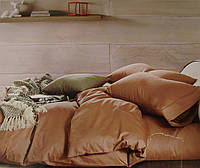 Комплект постельного белья из бамбука однотонный бежевый двухспальный.