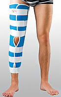 Жесткая шина для ноги с 4-мя металлическими ребрами жесткости. Размер S. Черный, синий