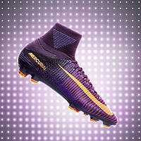 Детские бутсы Nike Mercurial Veloce III DF FG - Purple Dynasty/Bright Citrus/Hyper Grape