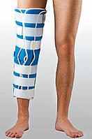 Жесткая шина для ноги с 5-тью металлическими ребрами жесткости детская. Размер UNIp-1. Черный, синий