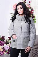 Женская демисезонная куртка 50-64рр большого размера серо-синий