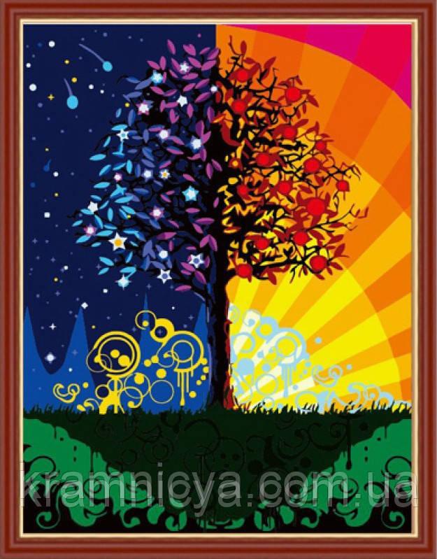 Раскраска по номерам. Дерево счастья, 40х50см. (MG224, КН224)