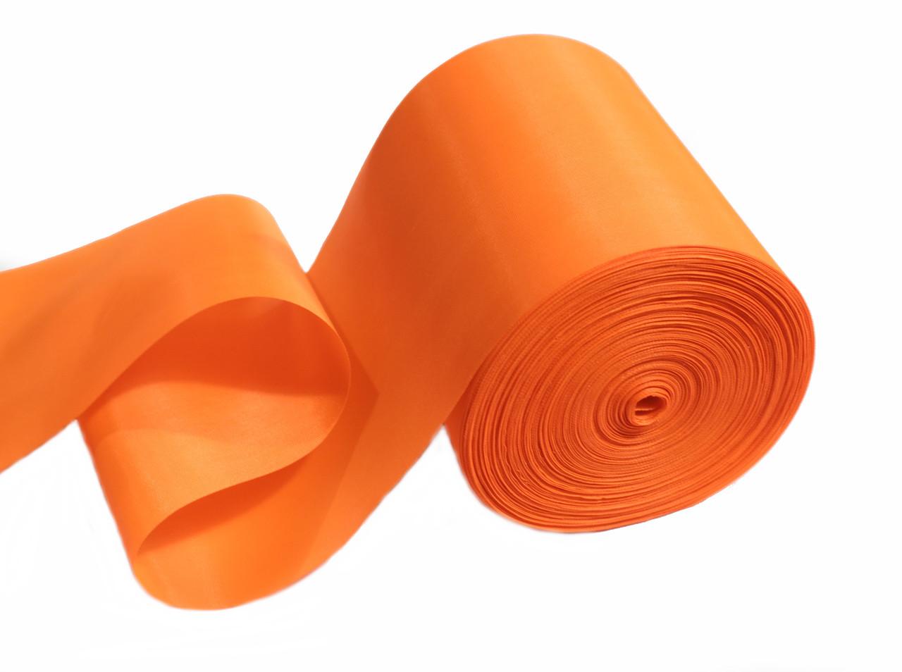 Лента шелковая ярко- оранжевая 10см