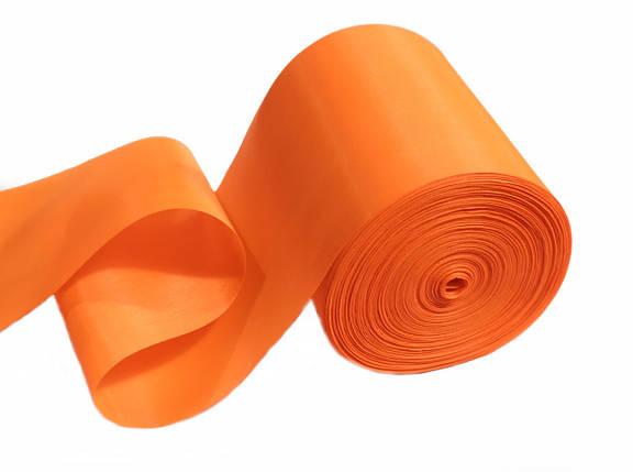 Лента шелковая ярко- оранжевая 10см, фото 2