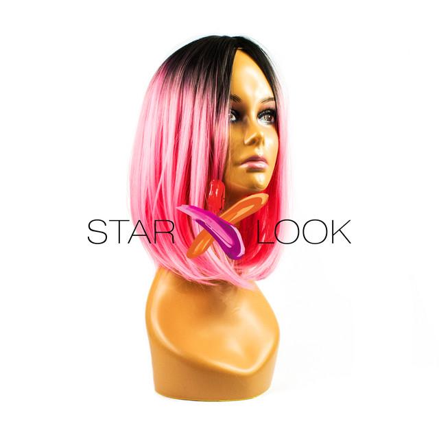 парик розовый искусственный