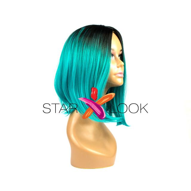 парик черно-изумрудный искусственный
