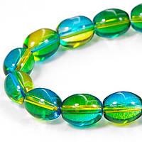 Бусины стекло окраш. прозрачные Овальные 11*8*8мм зеленый