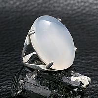 Агат халцедон, 25*18 мм., серебро 925, кольцо, 524КХ