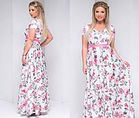 Шелковое платье больших размеров в цветок