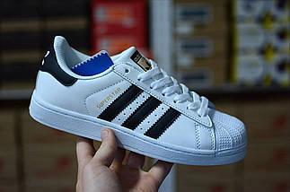 Женские и мужские кроссовки Adidas Superstar ll White/Black/Gold, фото 2