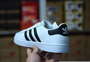 Женские и мужские кроссовки Adidas Superstar ll White/Black/Gold, фото 3