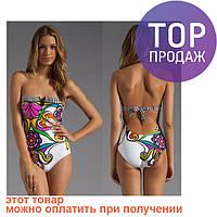 Женский купальник монокини слитный, с цветами / модный купальник с цветочным принтом