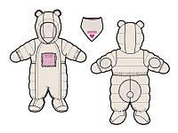 Зимний комбинезон для девочки от 3 до 18 месяцев (комбинезон, манишка) ТМ Deux par Deux Молочный A601G-106G