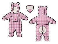 Зимний комбинезон для девочки от 3 до 18 месяцев (комбинезон, манишка) ТМ Deux par Deux Розово-белая клетка A601G-009G