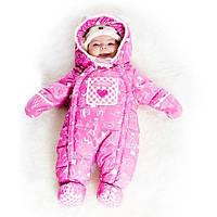 Зимний комбинезон для девочки от 3 до 18 месяцев (комбинезон, манишка) ТМ Deux par Deux Розовый A601G-001G