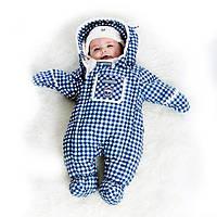 Зимний комбинезон для мальчика от 3 до 12 месяцев (комбинезон, манишка) ТМ Deux par Deux Бело-синяя клетка A601B-009B