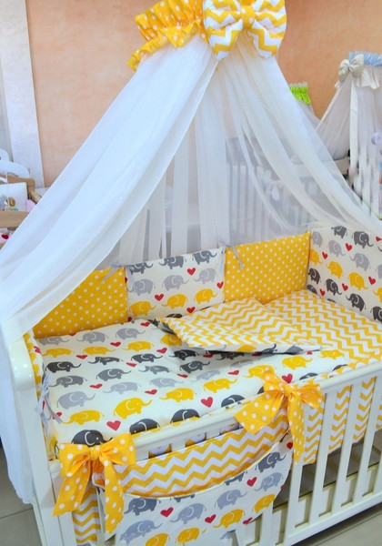 Комплект детского постельного белья 7 в 1 с желтыми бантами, Слоники