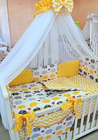 Комплект детского постельного белья 7 в 1 с желтыми бантами, Слоники, фото 1