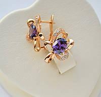 Шикарные серьги Цветок с фиолетовыми овальными цирконами Xuping позолота 18к.