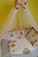 Комплект детского постельного белья 7 в 1 бежевого цвета, Сова