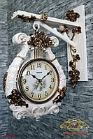 """Часы настенные """"Арфа, украшенная розами и маленькими ангелами""""."""