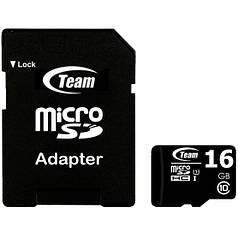 Карта памяти TEAM 16 GB microSDHC class 10 + SD-adapter для хранения и передачи информации