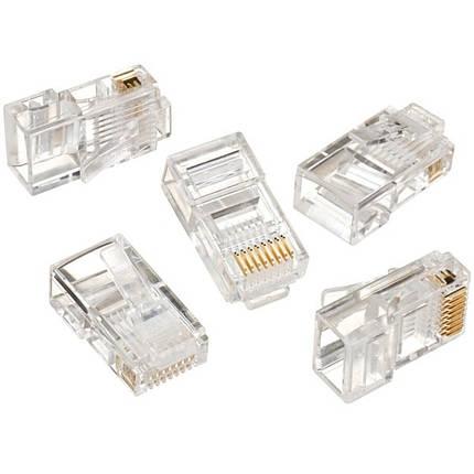 Коннектор Lesko RJ-45 UTP сетевой для кабеля типа витая пара расходники интернет подключение кабеля коннекторы, фото 2