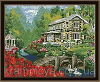 """Раскраска по номерам """"Дом у пруда"""", MG159, 40х50см."""