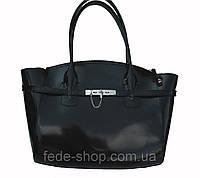 Женская сумка кожаная без подкладки чёрная, фото 1