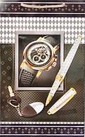 Бумажный подарочный пакет Средний - Часы+ручка