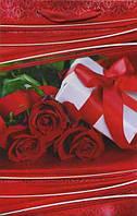 Бумажный подарочный пакет Малый - Красные розы+коробка