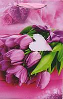 Бумажный подарочный пакет Малый - Розовые тюльпаны