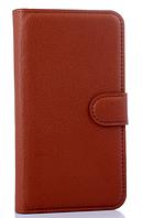 Кожаный чехол-книжка для Lenovo S850 коричневый