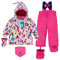 Зимний комплект для девочки 12-30 месяц. (куртка, полукомбинезон, рукавич., манишка) ТМ Deux par Deux Розовый B503-005