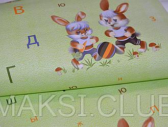 Обои на стену, зайчата, бумажные  в детскую, буквы, зеленый, зайчики 74-03, шарм, 0,53*10м
