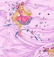 Обои на стену, детская, кукла, девочка, розовые, сказка, бумажные, магия 1053, 0,53*10м