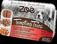 Консервы для собак с курицей, говядиной и смесью овощей Zoe Tempting Trios, 100 г