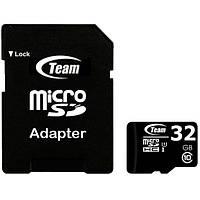 Карта памяти TEAM 32 MicroSDHC UHS-I + SD-adapter для компьютера ноутбука фотоаппарата камеры хранения