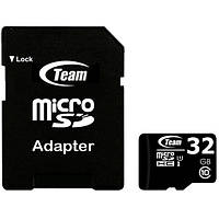 ☛Карта памяти TEAM 32 MicroSDHC UHS-I + SD-adapter для компьютера ноутбука фотоаппарата камеры