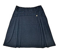 Трикотажная школьная юбка ( синяя ) р-ры 152