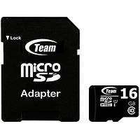 Универсальная карта памяти TEAM 16 GB microSDHC class 10 + SD-adapter для хранения фото видео музыки