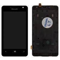 Дисплей для мобильного телефона Microsoft (Nokia) 430 Lumia, черный, с сенсорным экраном, с рамкой
