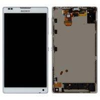 Дисплей для мобильных телефонов Sony C6502 L35h Xperia ZL, C6503 L35i Xperia ZL, C6506 Xperia ZL, белый, с рамкой, с сенсорным экраном, high-copy